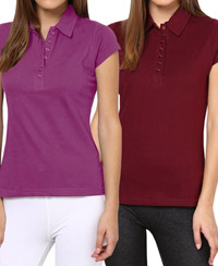 Softwear Purple-Maroon 7-Button Collared T-Shirt Pack of 2
