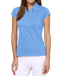 Softwear Sky Blue 7-Button Collared T-Shirt