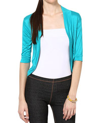 Softwear Turquoise Green Viscose Shrug