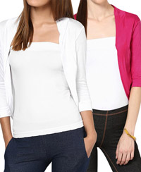 Softwear White-Fuchsia Pink Viscose Shrug Combo of 2