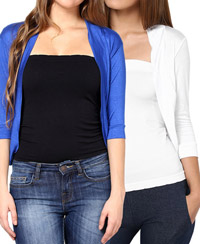Softwear White-Royal Blue Viscose Shrug Combo of 2