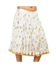 Traditional Sanganeri Gold Print Stylish Pure Cotton Skirt 247