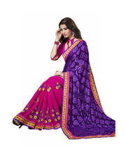 Triveni Incredible Floral Embroidery Half Half Indian Traditional Latest Saree