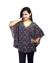 Vivaa  Black with Multicolor Printed Georgette Kaftan