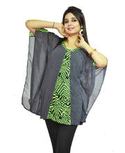 Vivaa Black and Light Green Georgette Printed Kaftan