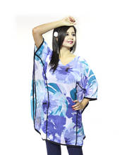 Vivaa Blue and White Georgette Printed Kaftan