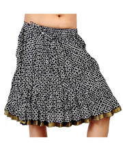 Zari Border Black-White Print Stylish Cotton Short Skirt 234