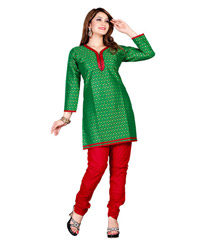 Zoom Exclusive Green Cotton Kurti 2802