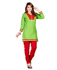 Zoom Exclusive Green Cotton Kurti