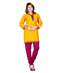 Zoom Exclusive gold Cotton Kurti 2804