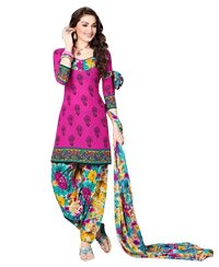 Magenta Printed Unswitched cotton Salwar Material