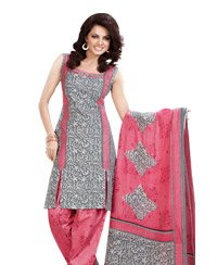 Silver Printed Unswitched Salwar Cotton Material