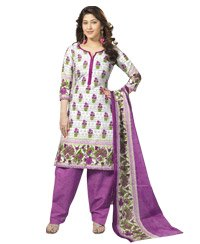 White & Orchid Printed Unswitched Salwar Cotton Material